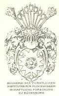 BÜCHEREI DES FÜRSTLICHEN INSTITUTES FÜR MUSIKWISSENSCHAFTLICHE FORSCHUNG ZU BÜCKEBURG (odkaz v elektronickém katalogu)