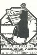 EX LIBRIS OFFICE DE PUBLICITE ANCIENS ETABLI J.LEBEGUE ET Cie , EDITEURS SOCIETE COOPERATIVE BRUXELLES (odkaz v elektronickém katalogu)