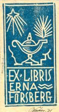 EX LIBRIS ERNA FORSBERG (odkaz v elektronickém katalogu)