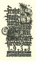 Frohe weihnacht und viel Glück für das Jahr 1938 wünscht Leopold Hofmann (odkaz v elektronickém katalogu)