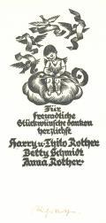 Für freundliche Glückwünsche danken herzlichstt harry u. Thilo Rother (odkaz v elektronickém katalogu)