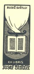 BUDIŽ SVĚTLO EX LIBRIS Josef Šindler (odkaz v elektronickém katalogu)
