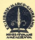EX LIBRIS MARCO CHIRLANDA (odkaz v elektronickém katalogu)