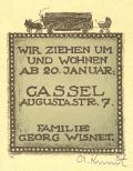 WIR ZIEHEN UM UND WOHNEN AB 20.JANUAR CASSEL AUGUSTASTR. 7 FAMILIE GEORG WISNET (odkaz v elektronickém katalogu)