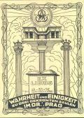 EXLIBRIS G.U.Vo-Wahrheit und Einigkeit zu Drei Gekrönten SÄULEN IM OR.: PRAG (odkaz v elektronickém katalogu)