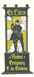 Ex libris Antoni Company F. de Cordova (odkaz v elektronickém katalogu)