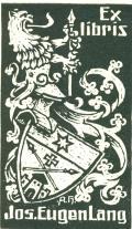 Ex libris Jos. Eugen Lang (odkaz v elektronickém katalogu)