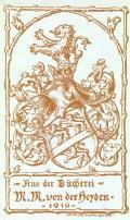 Aus der Bücherei M.M. von der Heyden (odkaz v elektronickém katalogu)