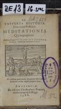 DE VNIVERSA HISTORIA Dominicae Passionis MEDITATIONES Quinquaginta  (odkaz v elektronickém katalogu)