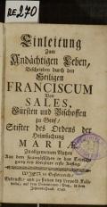 Einleitung Zum Andächtigen Leben  (odkaz v elektronickém katalogu)