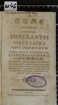 DE JURE SUPREMI IN CIVITATE IMPERANTIS CIRCA SACRA  (odkaz v elektronickém katalogu)