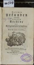 Seltnre Urkunden aus dem innern Archive der Religionsphilosophie  (odkaz v elektronickém katalogu)