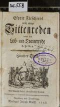 Esprit Fleschiers noch einige Sittenreden nebst Lob- und Trauerrede desselben. Fünfter Theil (odkaz v elektronickém katalogu)