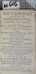 METHODUS EXPEDITAE CONFESSIONIS, Complectens Libros Quinque  (odkaz v elektronickém katalogu)