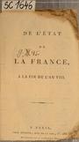 DE L'ÉTAT DE LA FRANCE, A LA FIN DE L'AN VIII