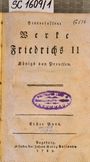 Hinterlassene Werke Friedrichs II. Königs von Preussen